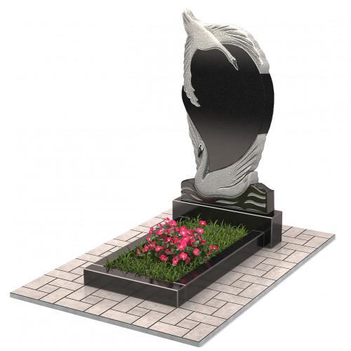 Памятник с парой лебедей П00217