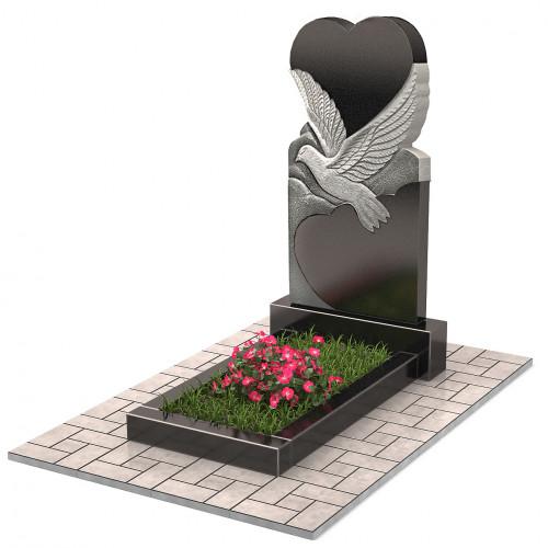 Памятник в виде сердца с голубем П00219