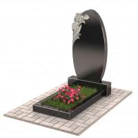 Памятник с цветами овальный П00231