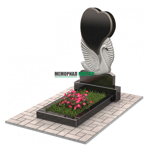 Памятник в виде сердца с лебедем П00256