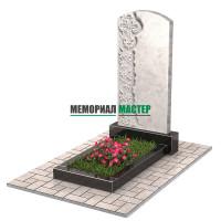 Памятник из мрамора с цветами и крестом П00471