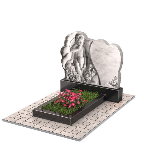 Памятник из мрамора с ангелочком и сердцем П00473