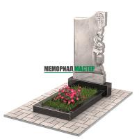 Памятник из мрамора с цветами П00475