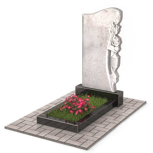 Памятник из мрамора с розой П00500