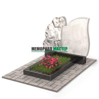 Памятник со скорбящей из мрамора П00509