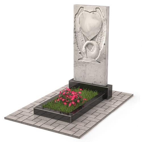 Памятник из мрамора Лебедь с сердцем П00512