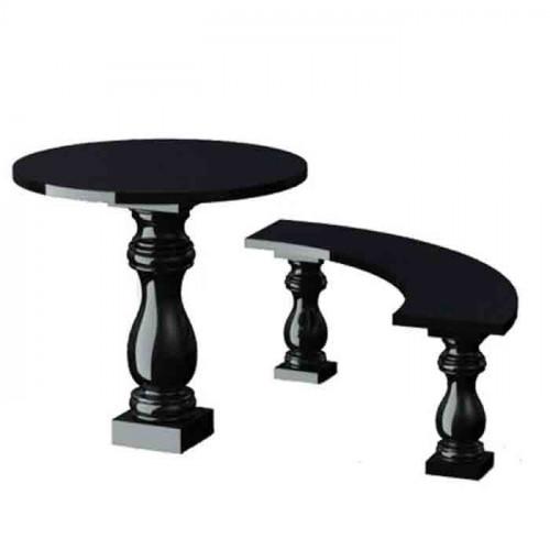 Стол с лавкой с фигурными ножками